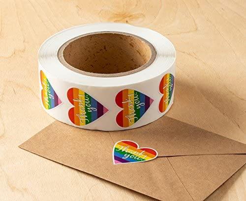 Support LGBT Causes for Gifts KUUQA 1000Pcs Gay Pride Stickers Rainbow Stickers Roll LGBT Love Rainbow Heart-Shaped Stickers 2 Rolls