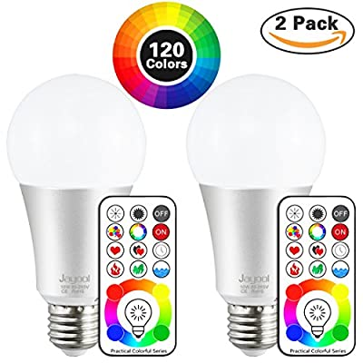 Jayool 10W E26 Color Changing Light Bulb With Remote. 120 Multi Color Choice