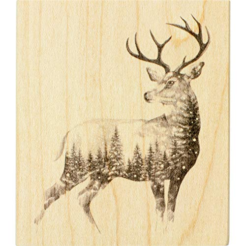 Inkadinkado Christmas Reindeer Mounted Rubber Stamp for Card Making and Scrapbooking, 3.5'' x 4'' x 1'' (Rubber Cards Stamps Christmas)