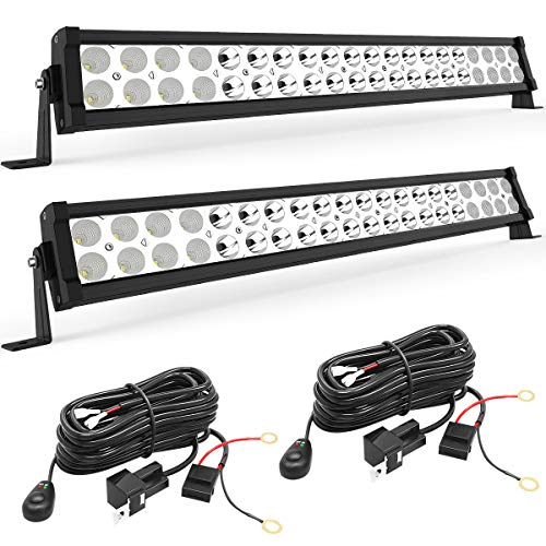 LED Light Bar YITAMOTOR 2PCS 24 inch Light Bar Spot Flood Combo Offroad Driving Lights with Wiring Harness compatible for ATV Jeep Truck 4x4 4WD Trailer UTV Boat 120W - ()