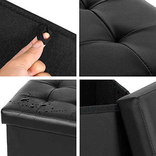 home, kitchen, furniture, accent furniture,  ottomans 4 picture B FSOBEIIALEO Folding Storage Ottoman Footrest Stool Faux in USA