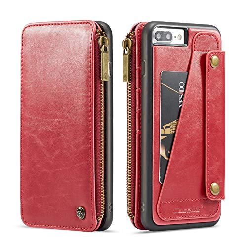 Case Cover for iPhone 8 Plus/iPhone 7 Plus 5.5inch 2017 Leather with Zipper,Removable Wallet Red 4 Card Slot (ID Card, Credit Card),Viewing Stand,Full Protection,Accurate Cutouts for Girls ()