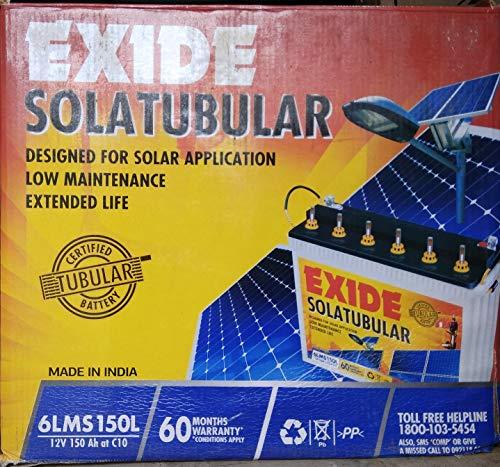 Exide Solar C10 Tubular Battery - 150Ah Inverter Battery 2021 June Exide Solar C10 Torr Tubular Battery 5 Year Direct Warranty - No Prorate!! Average Life 7-10 Years