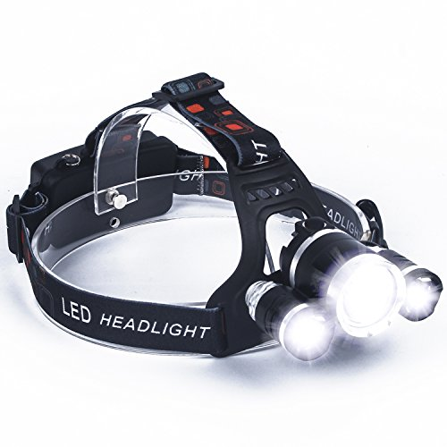 (LED Headlamp,SUNINESS Super Bright 8000 Lumens Rechargable Waterproof Headlamp Flashlight with 5 Cree LEDs and 6 Modes for Outdoor Hiking Camping Hunting Fishing Cycling Running (Black-3Lights) )