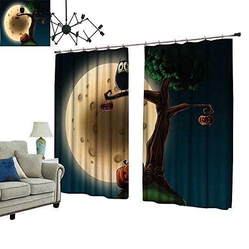 PRUNUS Window Curtain Drape with Hook Cute Cartoon of Spooky Halloween Tree with Large Eyed Owl and Pumpkin Available in a Variety of Colors,W84.3 xL96.5 ()