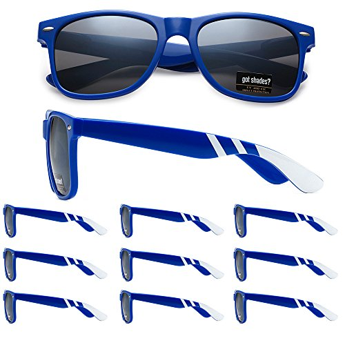 WHOLESALE RETRO BULK LOT TEAM SPIRIT STRIPED PROMOTIONAL SUNGLASSES - 10 PACK (Royal Blue | White Stripes | Smoke Lens, 52) ()