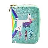 Timlee Cute Cartoon Flamingo Pineapple Unicorn Animal Prints Pattern Women Short Clutch Wallet (Unicorn B)