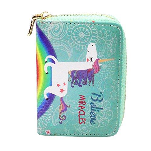 Timlee Cute Cartoon Flamingo Pineapple Unicorn Animal Prints Pattern Women Short Clutch Wallet (Unicorn B) by Timlee