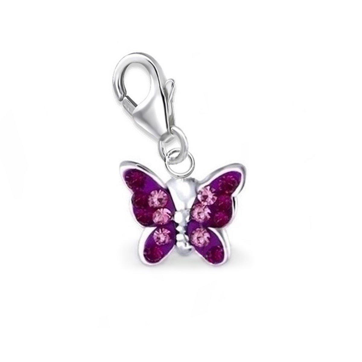 GH* KIDS Mini Lila Amethyst Kristall Schmetterling Charm Anhänger 925 Echt Sterling Silber Mädchen Kinder Damen Baby GH-1a ch016AM9