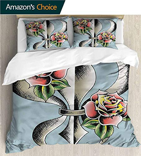 VROSELV-HOME European Style Print Bed Set,Box Stitched,Soft,Breathable,Hypoallergenic,Fade Resistant 100% Cotton Bedspread/Quilt Set,3 Pieces-Fleur De Lis Artistic Design Roses (80