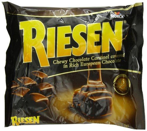 RIESEN Chewy Chocolate Caramels, Dark Chocolate Caramel Candy, Individually Wrapped Candy, Bag of Candy, 9 Ounce