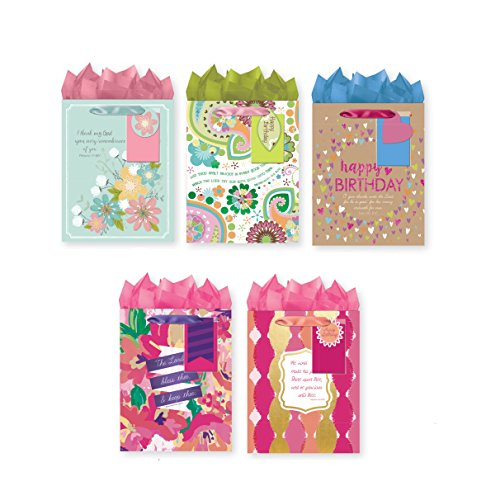 Bundle of 5 Religious Medium Party Gift Bags, Birthday Gift Bags with KJV Scripture, Tags and Tissue Paper ()