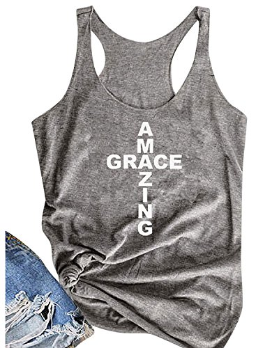 Enmeng Women's Amazing Grace Tank Tops Casual Graphic Cami Tee Shirts (S, Grey)