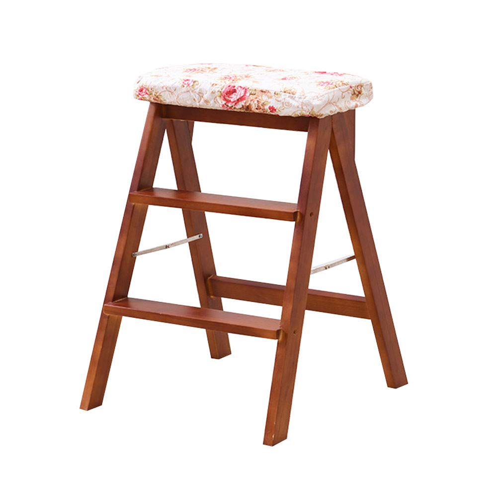 2 Solid Wood 3 Step Ladder Stool Folding with Cushion High Foot Stool Bar Stool Flower Rack Shelves Multi-Function (color    2)