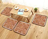 UHOO2018 Comfortable Chair Cushions Wooden Thai Style crav on wor roof in Temple of Northern Thailand Reuse can be Cleaned W17.5 x L17.5/4PCS Set