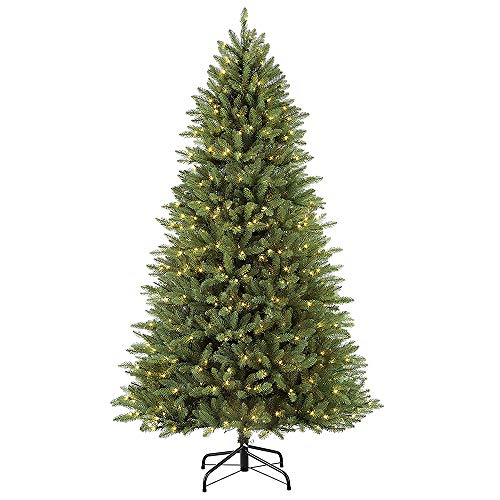 Puleo International 7.5 Foot Pre-Lit Elegant Series Fraser Fir Artificial Christmas Tree with 600 UL Listed Clear Lights, Green