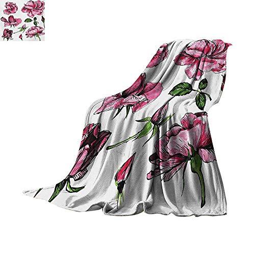 (Floral Throw Blanket Garden Flowers Roses Buds Leaves Hand Drawn Sketchy Image Art Custom Design Cozy Flannel Blanket 62
