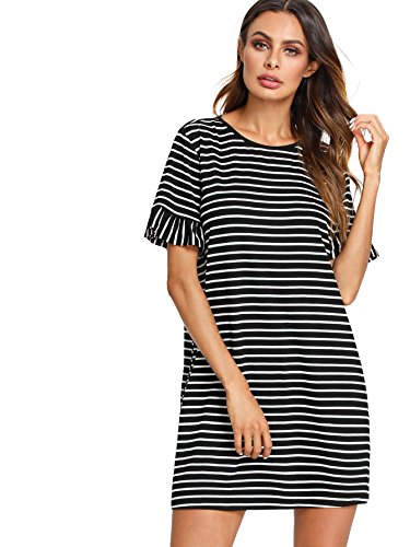 Floerns Women's Striped Short Sleeve Loose Swing T-Shirt Dress Black White ()