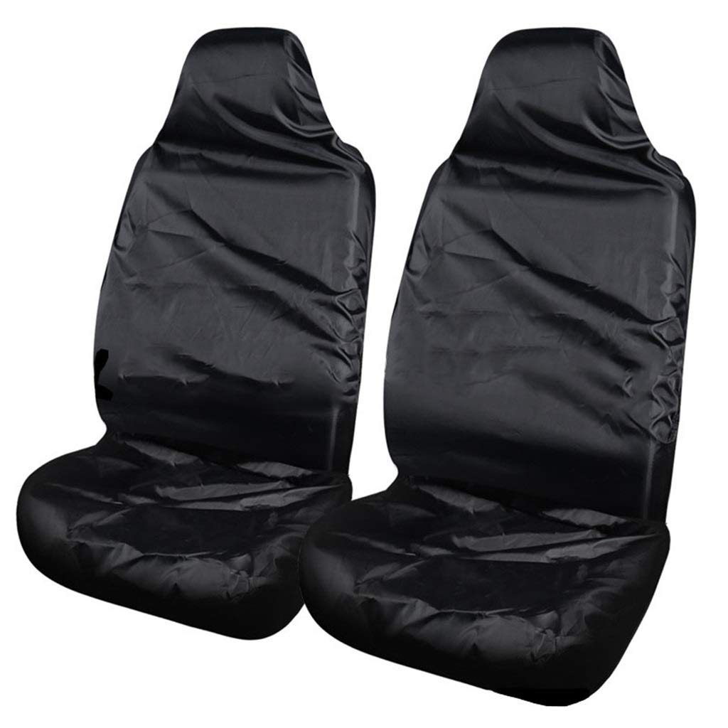 Front Black Car Seat Cover Waterproof Front Rear Seat Covers Tear Resistant Fabric in Black (Front Black)