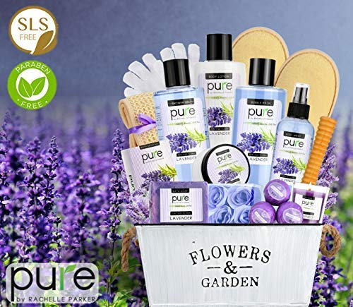 Mothers Day Gifts Lavender Essential Oil Spa Basket - Gardener Lavender Tin Gift Basket. Premium Bath Gift Basket for Birthday, Thank you, Anniversary Gift Best Holiday Spa Gift Set