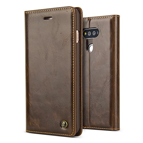 LG V20 Case,BELK Vintage Retro Book Style Flip Folio Multi functional Wallet with Credit Card Case Embedded Magnetic Closure,Bumper Cover w/ Kickstand for LG V20-Brown