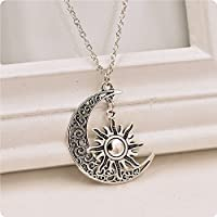 Ransopakul Charm Fashion Jewelry Crescent Necklace Pendant Sun And Moon Chain