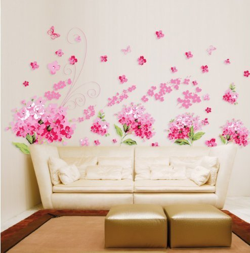 Paper Flower Stickers (LiveGallery Lovely Pink Petal Flowers Removable Wall Decals/Wall Stickers & Murals/Wall Décor DIY Romantic Pink Tv Background Living Room Baby Kids Girls)