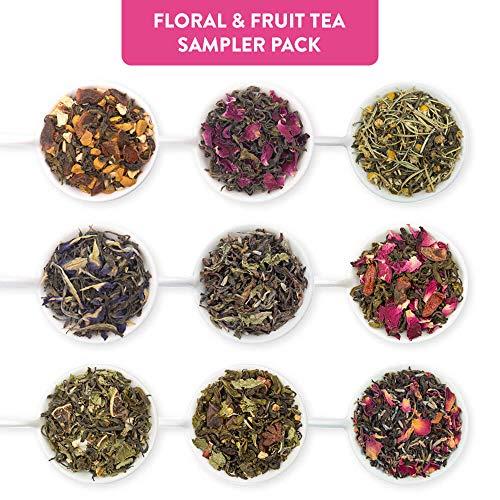 Blended Sampler Tea - Udyan Floral & Fruit Tea Sampler Pack, 9 Teas 0.35 oz each | 3.2 oz (36 cups) | 100% Natural Ingredients | Blended Whole Leaf Flavoured Tea | Tea Variety Pack