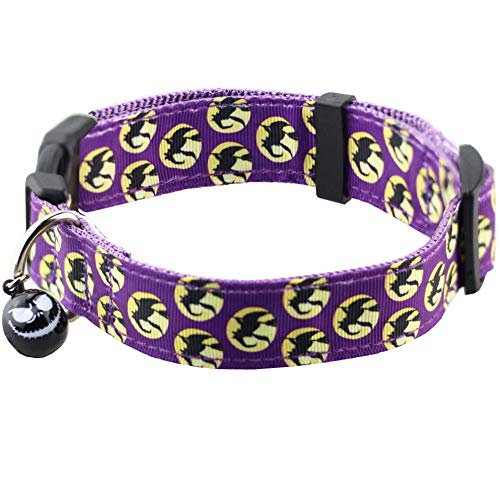 Bolbove Pet Adjustable Halloween Collar with Bell for Medium to Large Dogs (Large, Purple Witch) ()