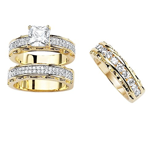 Palm Beach Jewelry 14K Yellow Gold Plated Princess Cut and Round Cubic Zirconia 3 Piece Bridal Ring Set Size 8