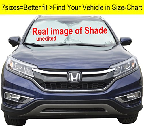 A1 Windshield Sun Shades for Car SUV Truck Minivan Ultra-Premium 230T Nylon Hassle Free Size-Chart Available UV Ray Reflector Sunshade your Vehicle Cool and Damage Free Find your Exact Model - Reflector Shades
