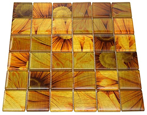 Glossy Sun Flower Square Glass Mosaic Tiles for Bathroom and Kitchen Walls Kitchen Backsplashes by Vogue Tile