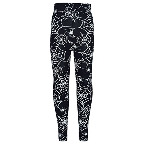 A2Z 4 Kids Girls Halloween Legging Spider Web Skull Print Leggings Fancy Costume 3-13 ()