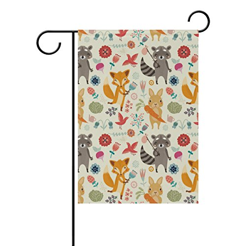 Flowers Proof Squirrel (Vantaso House Flag Decorative Forest Animals Rabbit Squirrel Tree Flowers Double Sided Printing Fade Proof for Outdoor Courtyards 28x40 inch)