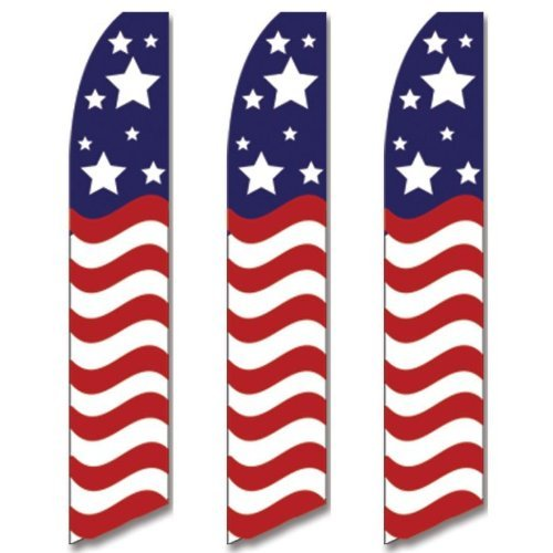 3 (three) Pack Tall Swooper Flags USA America American Stars Stripe Wave supplier