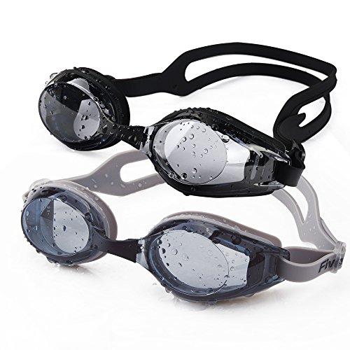 FiveBox 2-pack Adult Waterproof Anti-shatter Uv Protection Swim Goggles for Men Women,Watertight...