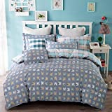 100% Cotton Twill Plaid 3 Pcs Sheet Set for Twin Size Bed or Queen Size Bed , queen