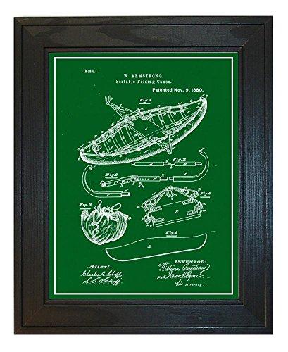 Portable Folding Canoe Patent Art Green Print with a Border