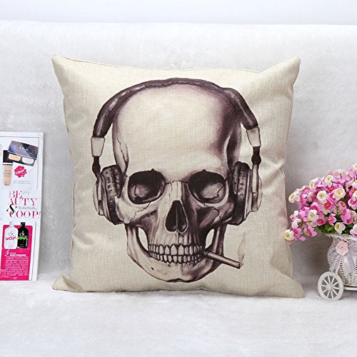 Alicemall Skull Print Throw Pillow Cover Square Shape Linen Cushion Cover Unique Skull with Headphone Decorative Pillow Case for Couch and Sofa, 18 x 18 inch (45cm x 45cm) (Music Skull)