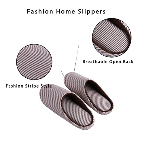 amp; Brown Shoes Striped Slip Clog Fleece Lining Use Men's on KRIMUS Women's Outdoor Foam House Slippers Plush Memory Indoor qv76c5U