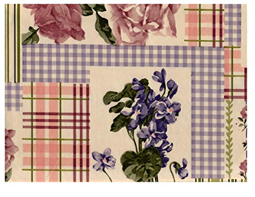 American Plastics Floral Tablecloth Vinyl Flannel Backed, Retro Style with Gingham, Stripes and Plaid Blocks, 52 x 70 Rectangle ()