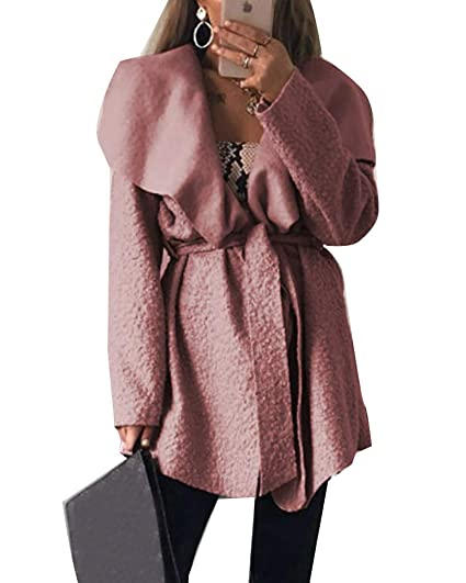 GladiolusA Abrigos para Mujer Irregular Elegante Largo Mezcla De Lana Casuales Chaqueta Pink S
