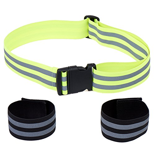 High Visibility Reflective Glow Belt with 2 Ankle Bands / Armbands - Best for Running, Dog Walking, Cycling and Outdoor Sports Safety. Lightweight - Elastic Fabric - Adjustable Tightness. Men / Women (Belt Glow)