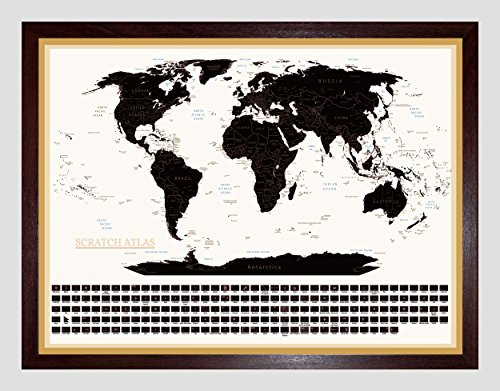 Ultimate Scratch Off World Map Complete Set w/ Country Borders and Flags - Best Gift for Travelers - Great Travel Tracker Professionally Designed Detailed Cartography (33.15 x 22.84inches - A1 Frame) Photo #4