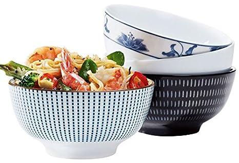 Ernesto® Cuenco arroz (Diámetro aprox. 11 cm) ca. Ø 12 x H 6 cm schwarz gemustert: Amazon.es: Hogar