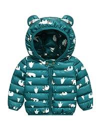 FEOYA Kids Lightweight Cotton Down Puffer Jacket Pattern Winter Outerwear with Ears