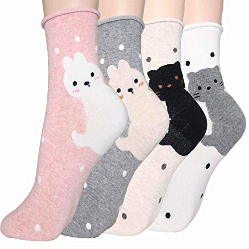 DearMy Womens Cute Design Casual Cotton Crew Socks for Gift Idea One Size Fits All (Cat Family 4 Pairs)