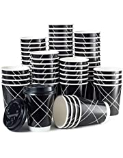 Disposable Coffee Cups With Lids - Double Wall Insulated (No sleeves needed) - Upscale Design for Weddings, Parties, Coffee House, Home and Everyday - 12 oz To Go Coffee Cups (100 Pack) (Black, 12 oz)
