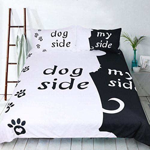 RheaChoice Dog Side My Side 3 Piece 100% Microfiber Bedding Set Funny Pet Topic Cute Duvet Cover Set Queen Size - Includes 1 Duvet Cover 2 Pillowcases -