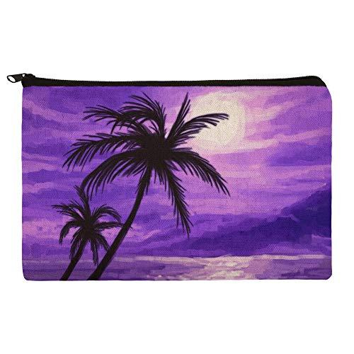 Purple Sunset Beach Palm Tree Hawaii Paradise Makeup Cosmetic Bag Organizer Pouch